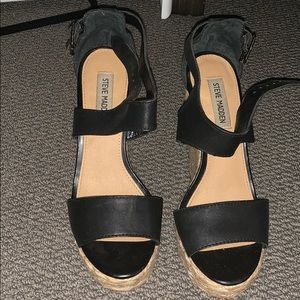 Woven black strap wedges